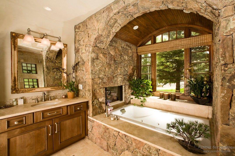 Шикарный дизайн ванной комнаты в стиле кантри с отделкой из камня