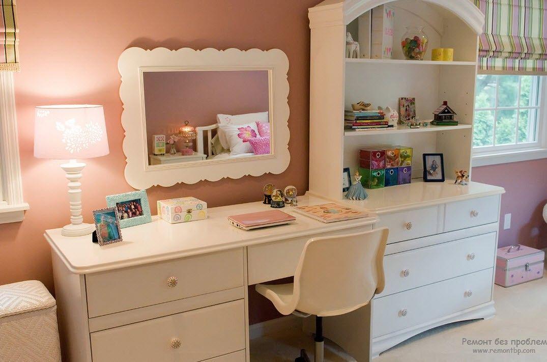 Мебель в детской комнате с нежными пастельными тонами