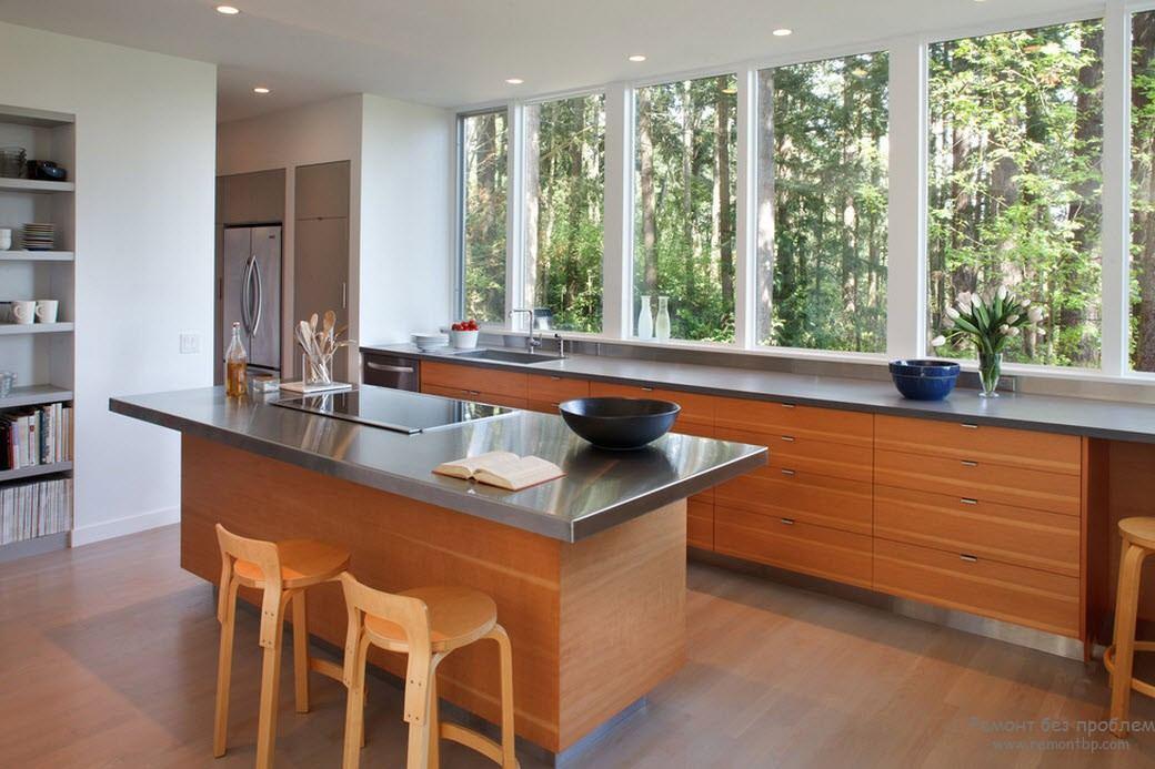 Стильный интерьер кухни с окном, Оригинальные идеи дизайна кухни