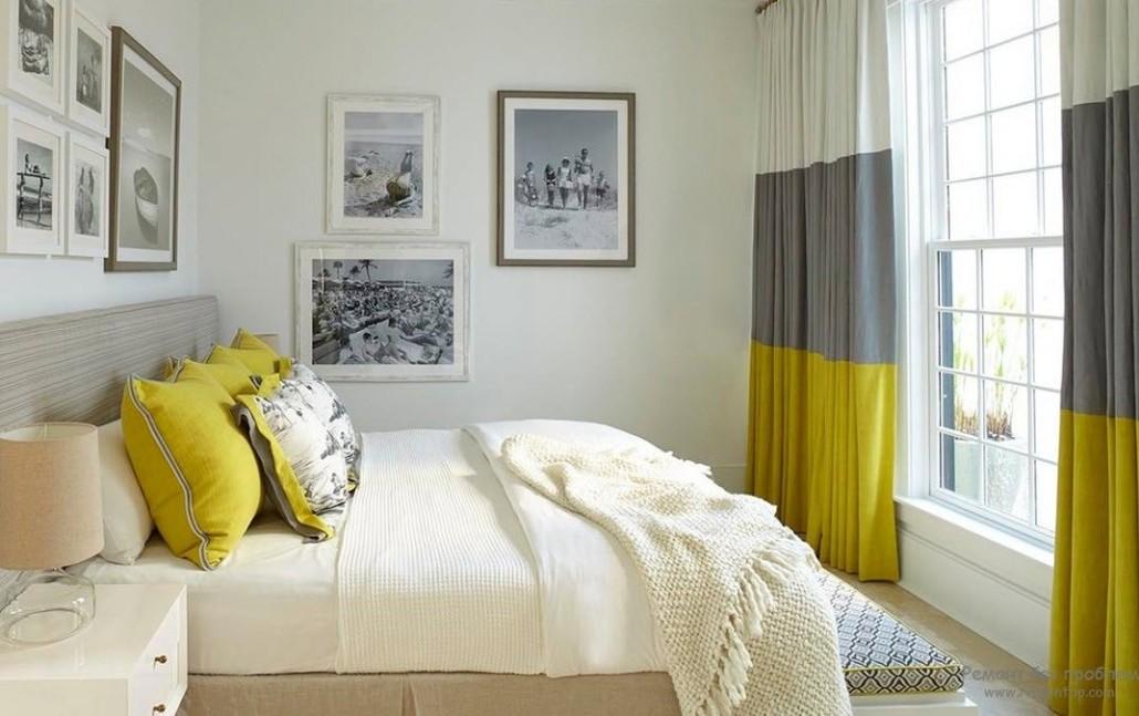 Дизайн штор для спальни в сером цвете