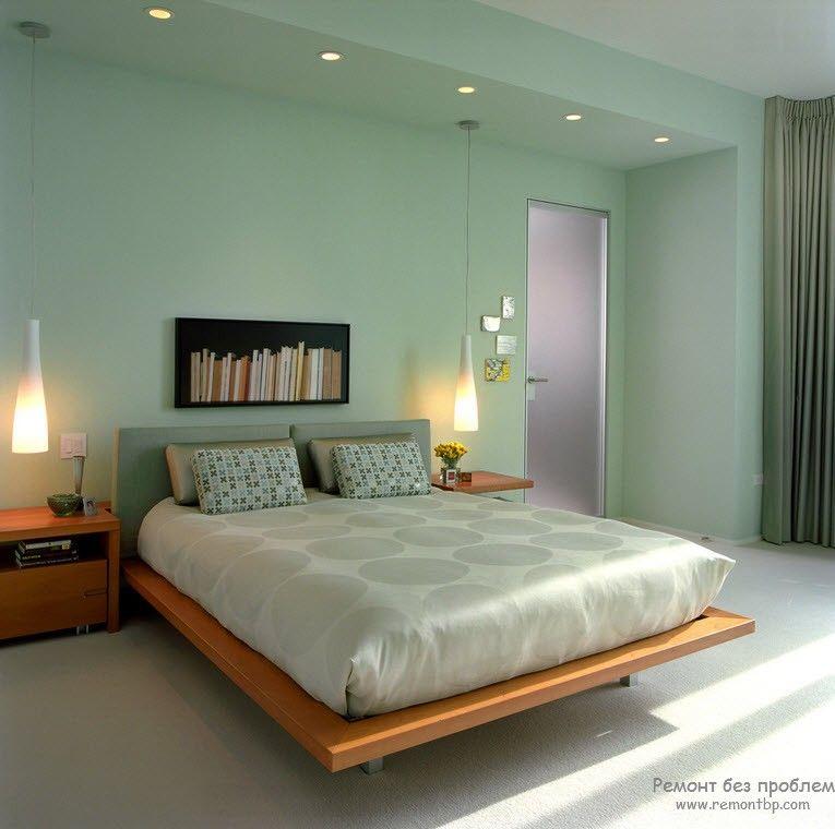 Необыкновенно благородный приглушенный оттенок зеленого в интерьере спальни