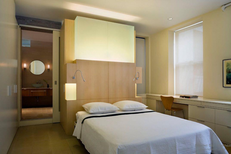 Вариант встроенной подсветки в спальне