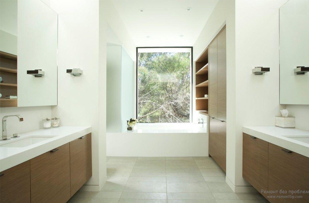 Два цвета в интерьере минималистской ванной комнаты
