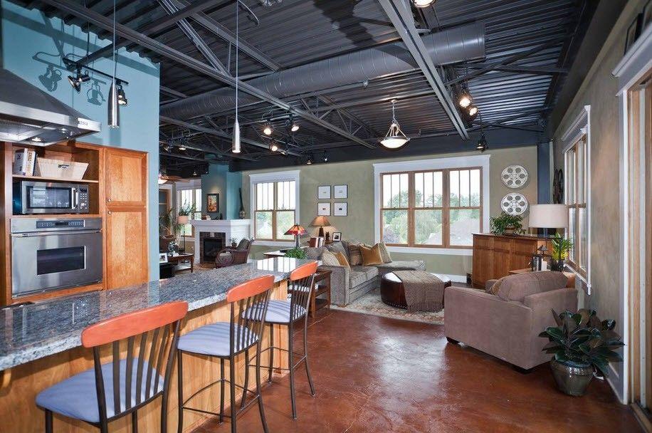 Кухня, совмещенная с гостиной в индустриальном стиле