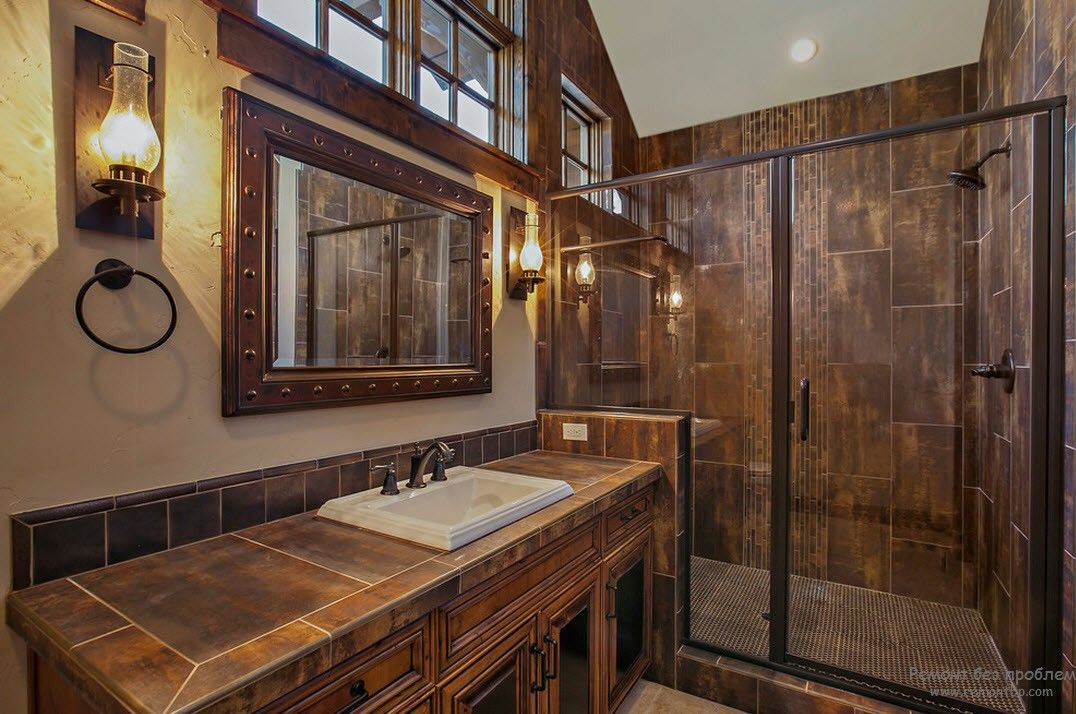 Настенные светильники в интерьере ванной комнаты