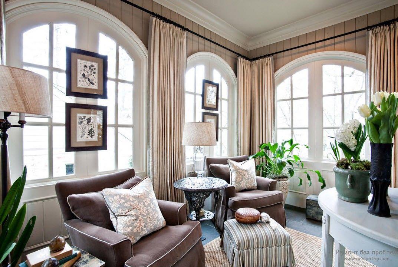 Арочные окна и шторы