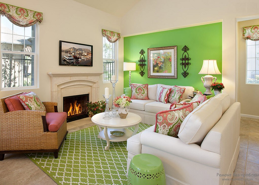 Гостиная - стена и ковер зеленые