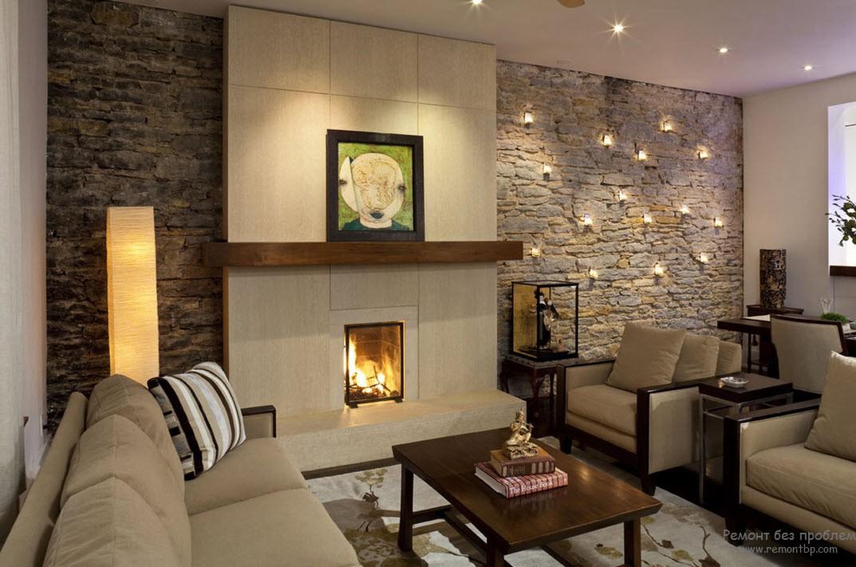 Стена из декоративного кирпича в интерьере гостиной фото