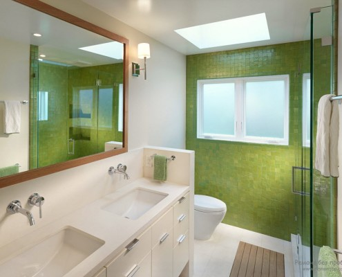 Стена зеленая в санузле