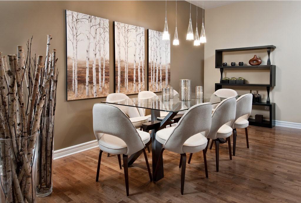 Древесные мотивы в столовой, оформленной в стиле модерн