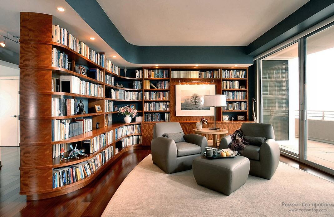 Эффектный дизайн гостиной с библиотекой