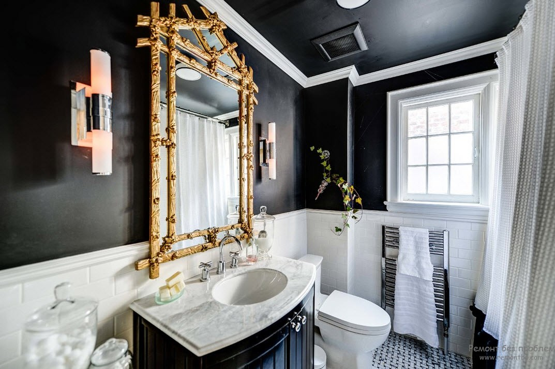 Небольшая ванная в темном цвете
