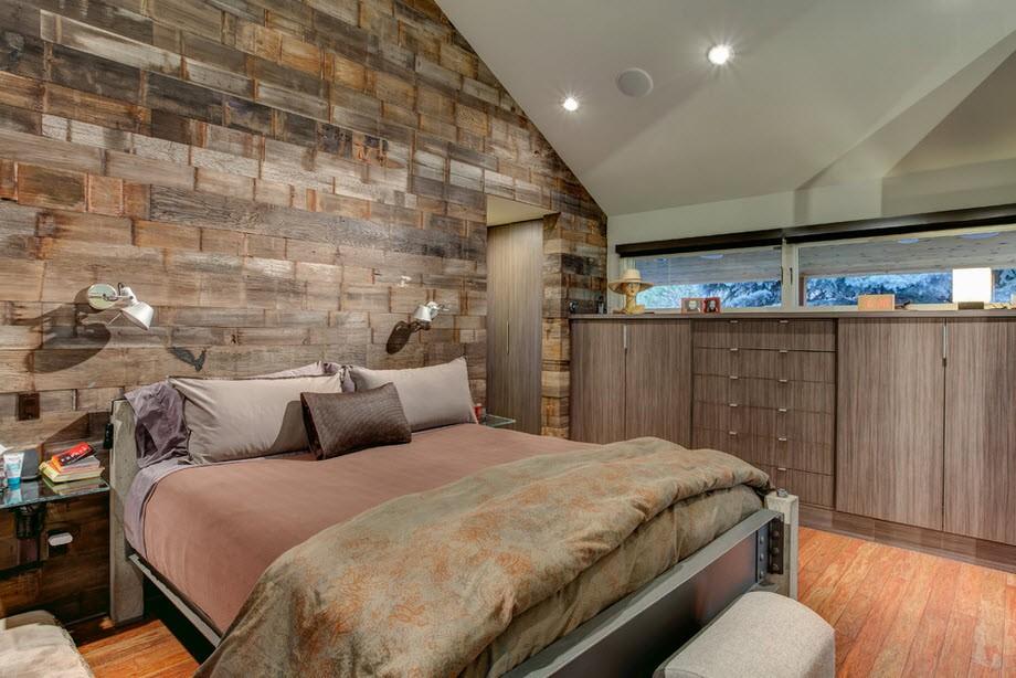 Дизайн комнаты спальни и кухни с зонами 57