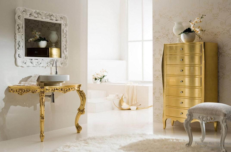 Мебель с изогнутыми ножками и позолота - характерные отличие стиля барокко