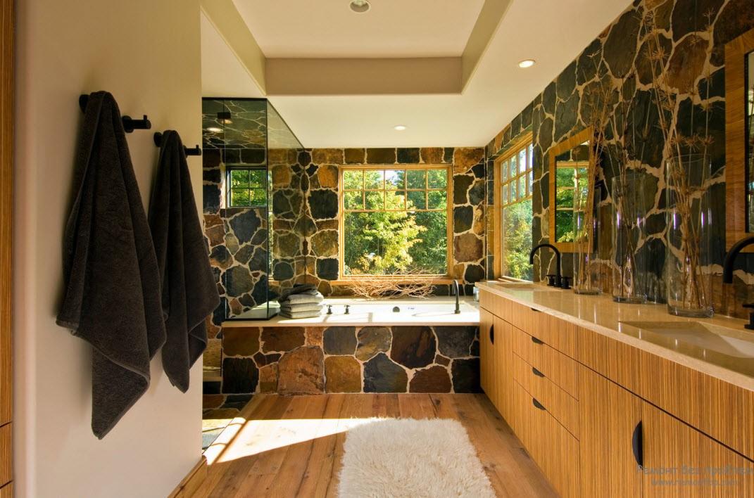 Натуральный камень в ванной комнате