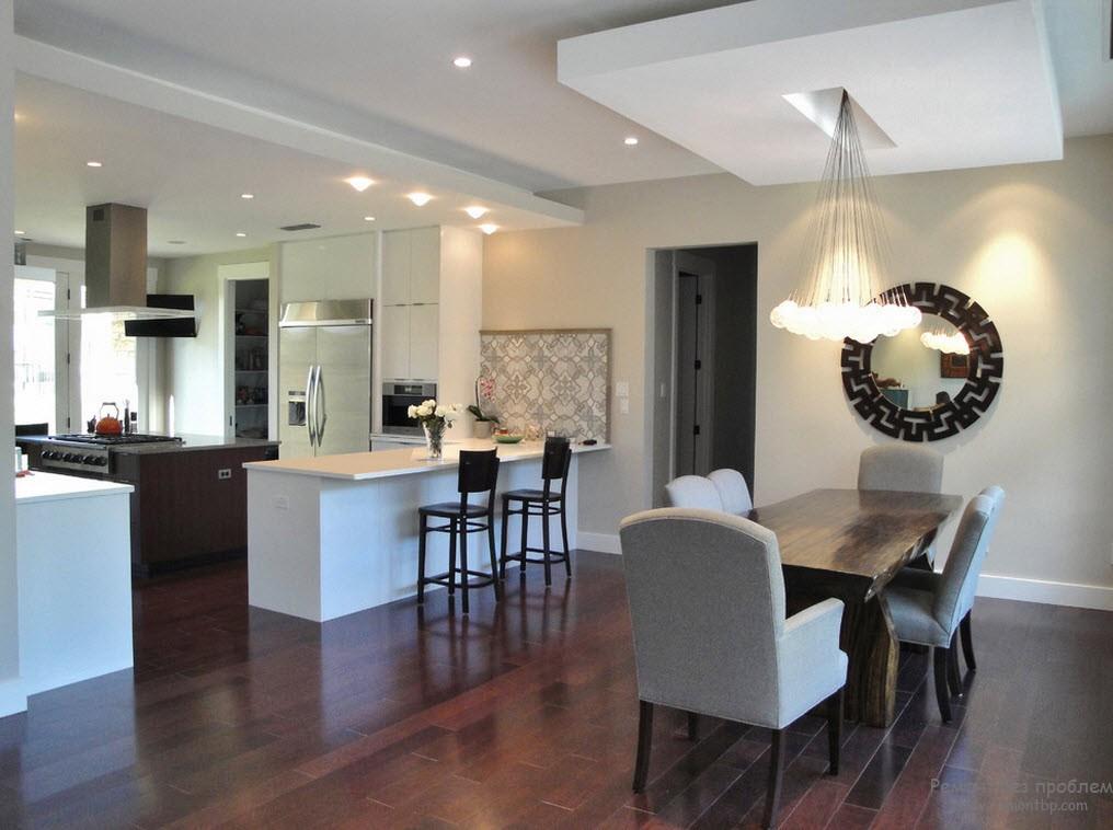 Современный потолок на кухне фото
