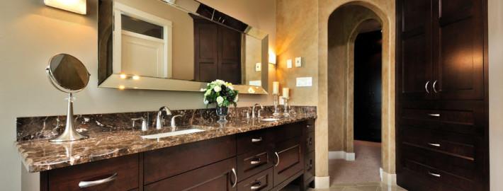 Темная ванная комната в интерьере