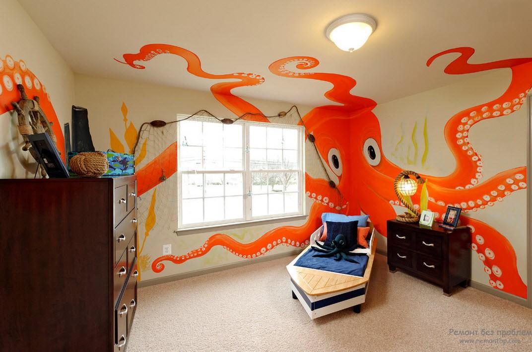 Такой яркий и добрый осьминог может украсить детскую комнату