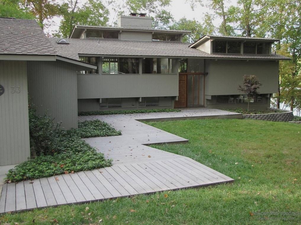 Фасад и окружение деревянного дома, Красивый загородный экстерьер