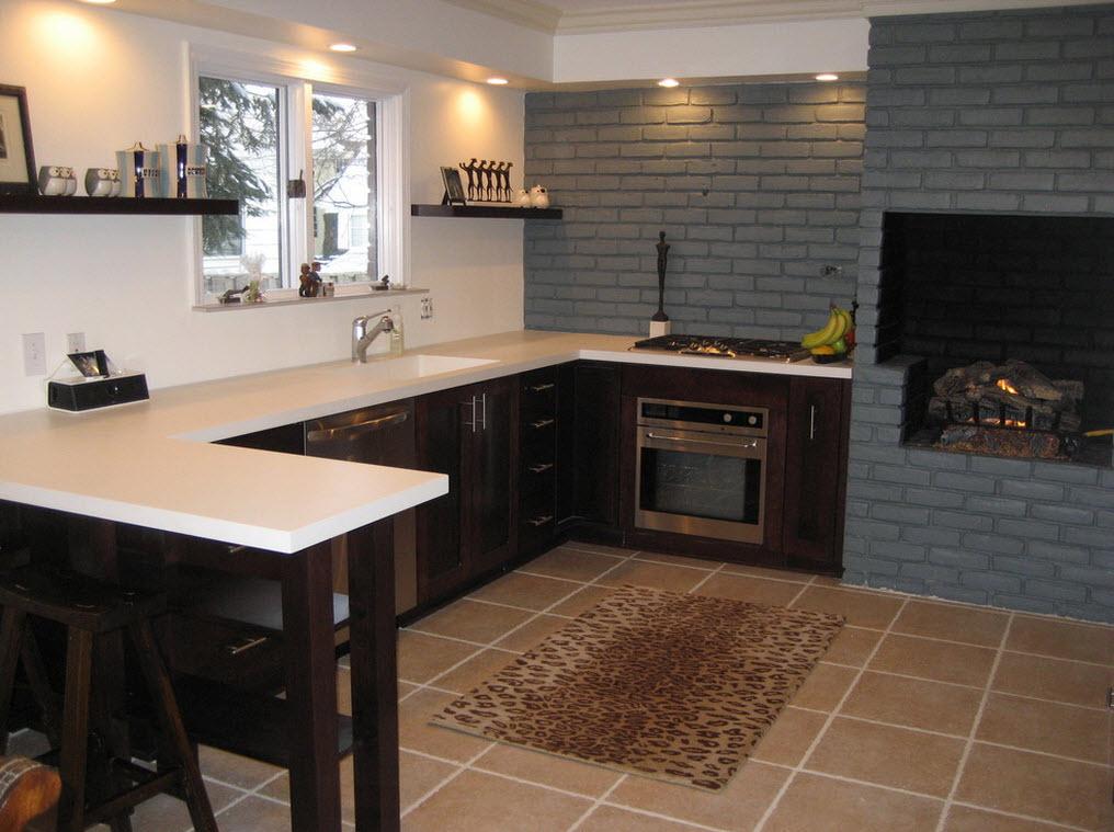 Дизайн каминов для кухни