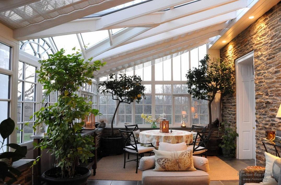 Уютный дизайн роскошной веранды с живыми деревьями