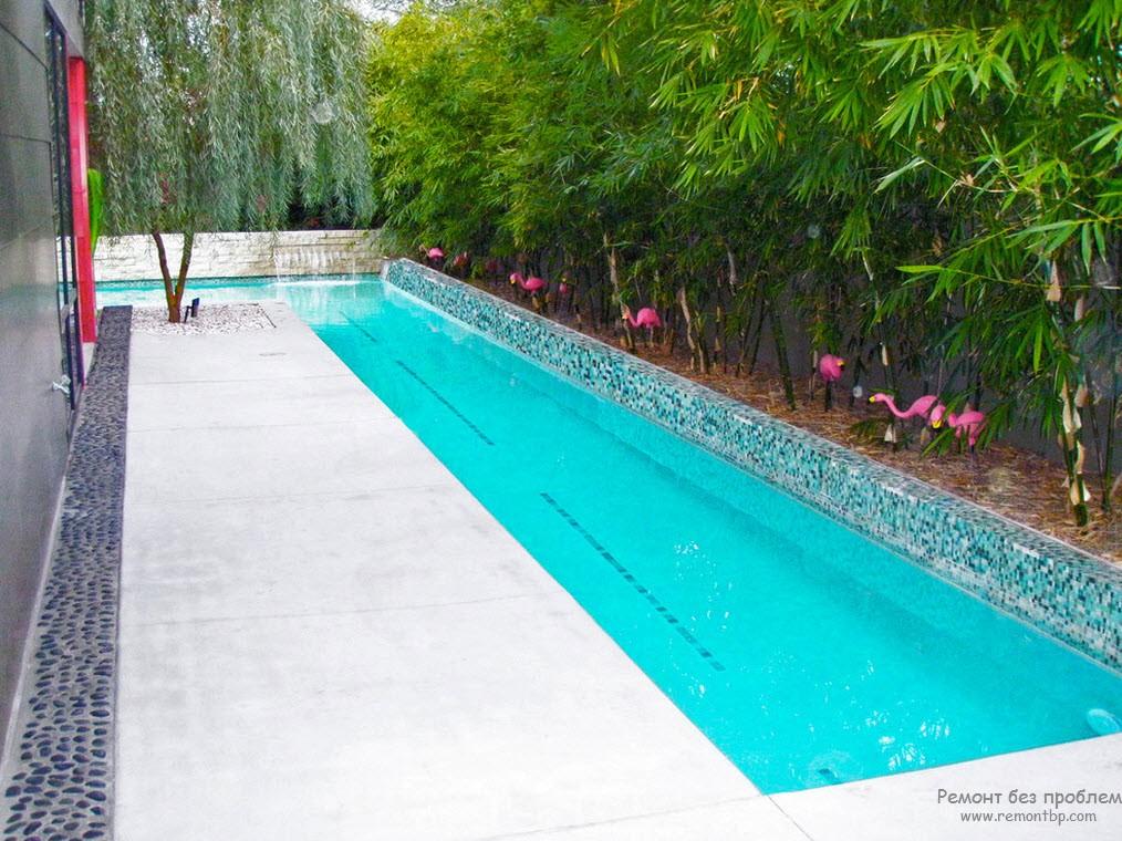 Эффектный бассейн вокруг дома