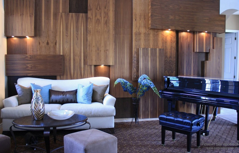 Decorating Ideas > Современная отделка стен деревом  Идеи интерьера и  ~ 171017_Living Room Wall Paneling Ideas