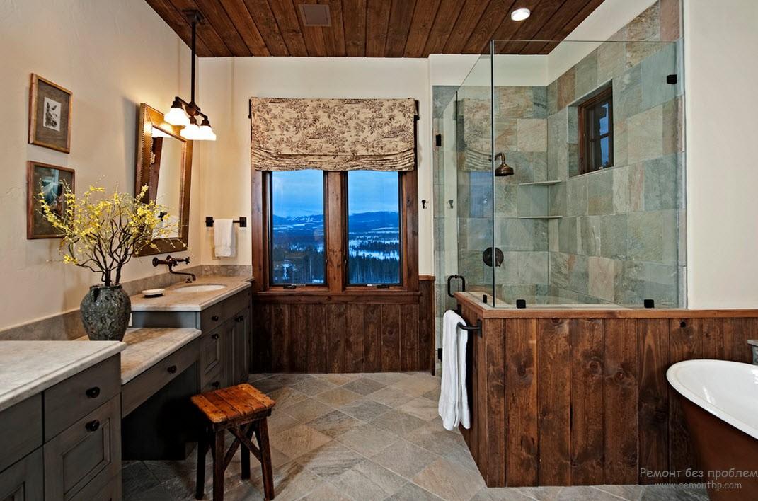 Ванная комната на даче из керамической плитки