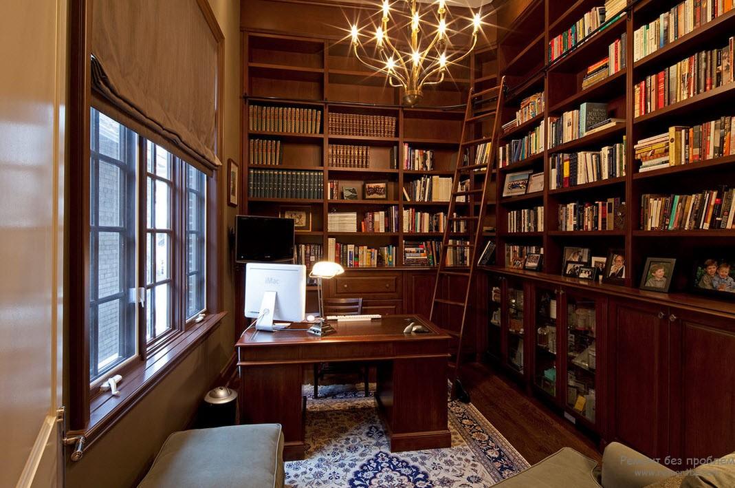 Интерьер и дизайн домашней библиотеки красивое место для чте.