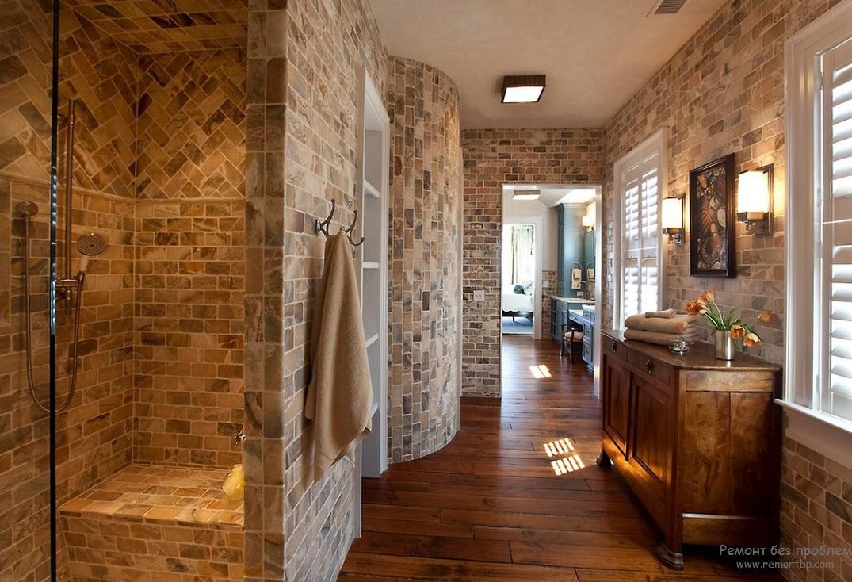 Интересная дачная ванная комната