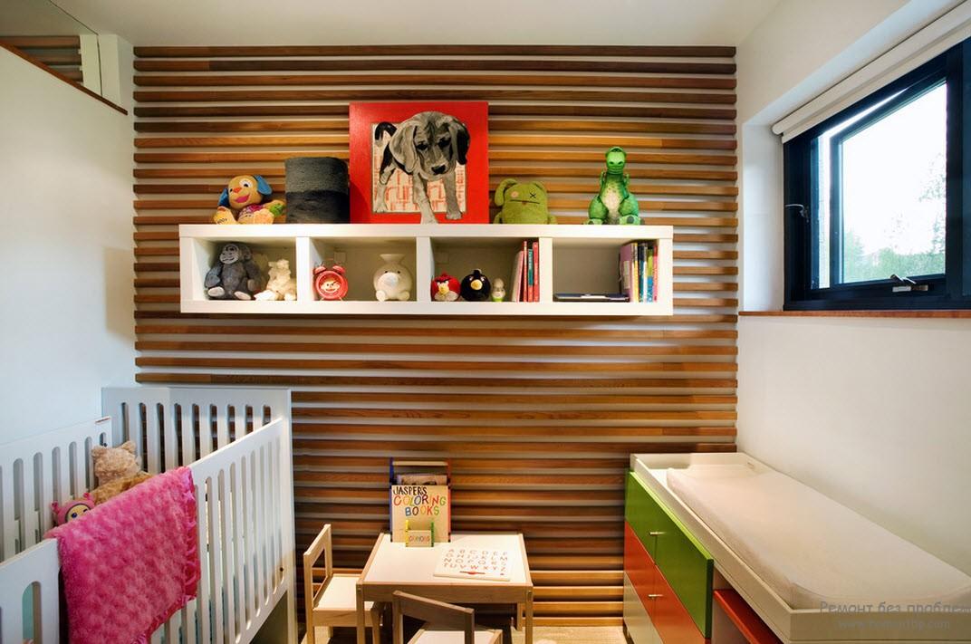 Отделка под дерево в интерьере детской комнаты