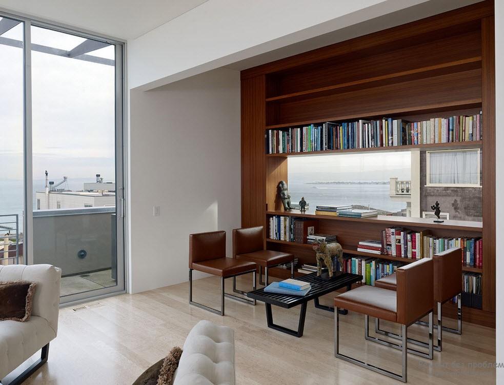 Ждя обустройства библиотеки можно использовать любой уголок в любой комнате