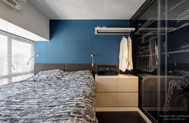 Затишна малеенькая спальня з ефектною вбиральні