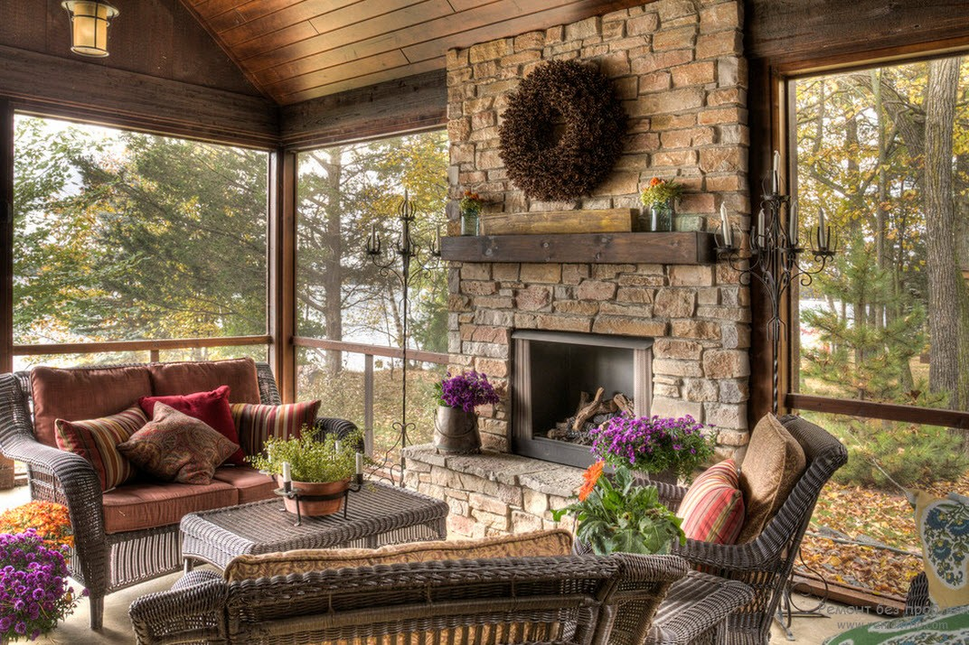 for Screened in porch fireplace ideas