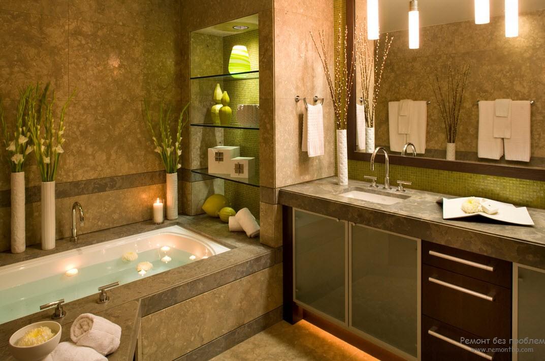 Полки в ванной с подсветкой