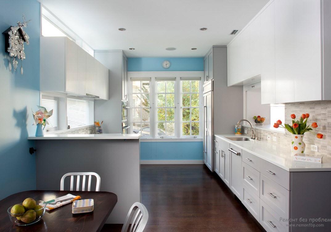 Сочетание серых обоев с другими цветами в кухне фото
