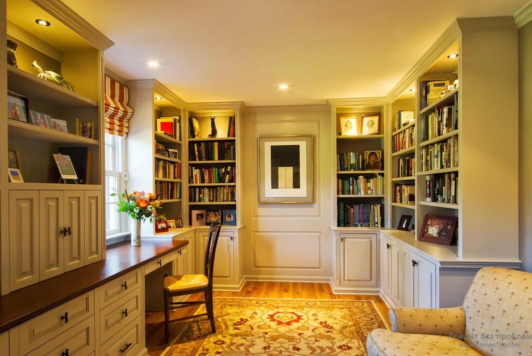 Под библиотеку можно обустроить любую комнату, даже не очень большую