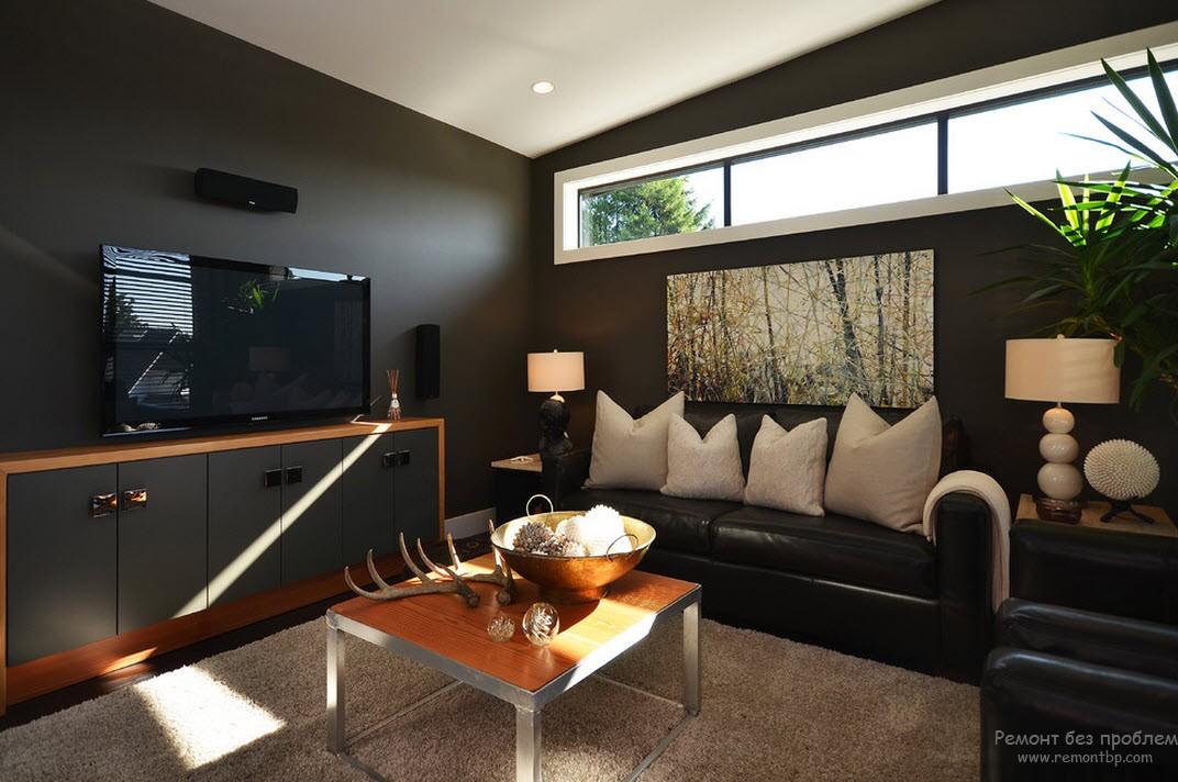 Черный цвет для гостиной