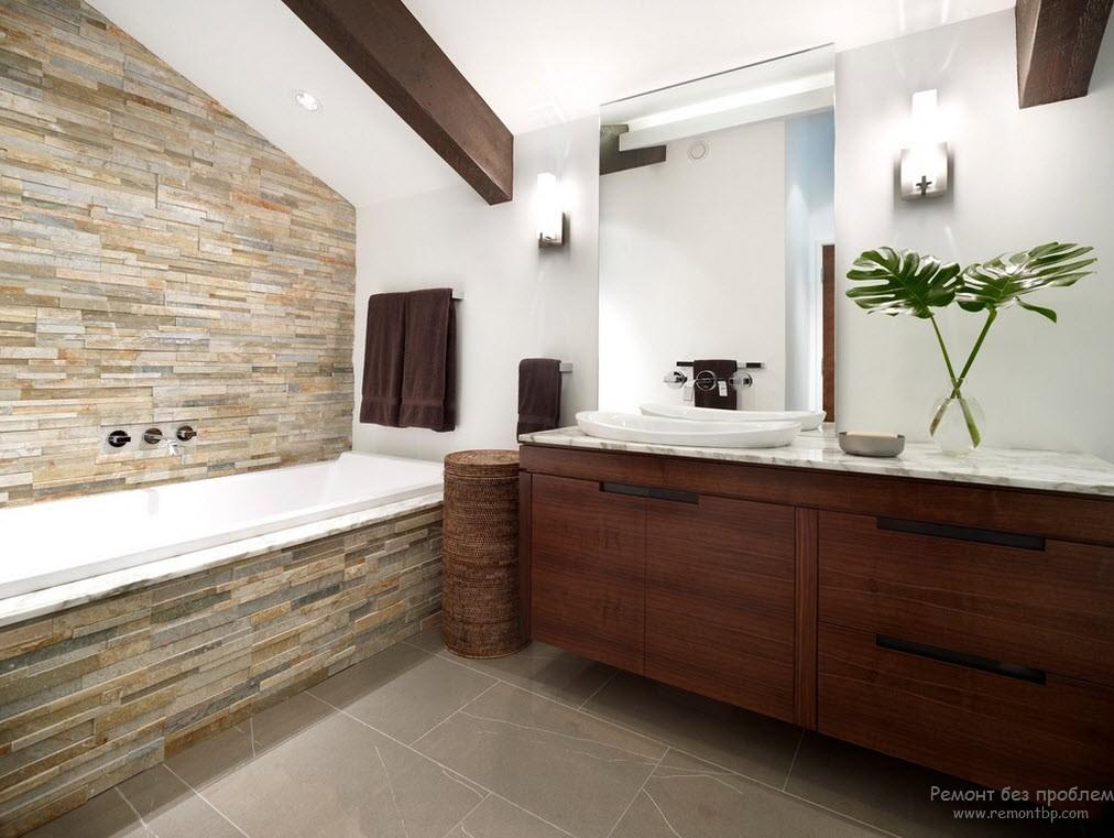 Дикий камень в интерьере ванной