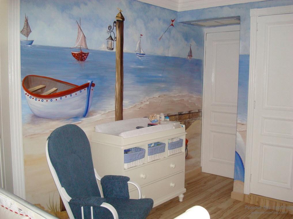 Морской интерьер при помощи фрески