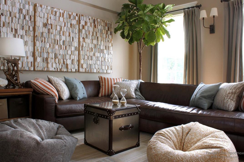 Темный диван в интерьере фото
