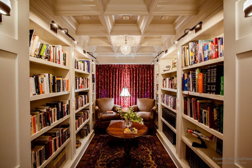 Комната библиотека фото