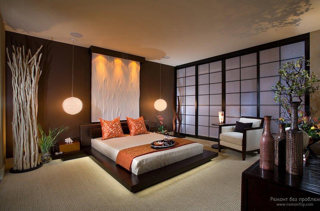 Раздвижные перегородки в японской спальне