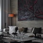 Дизайн темной гостиной