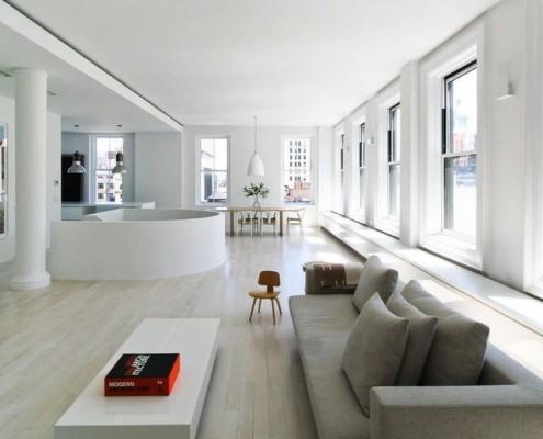Чёткое зонирование просторного помещения – характерная черта минимализма