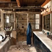 Ванная комната на даче из дерева