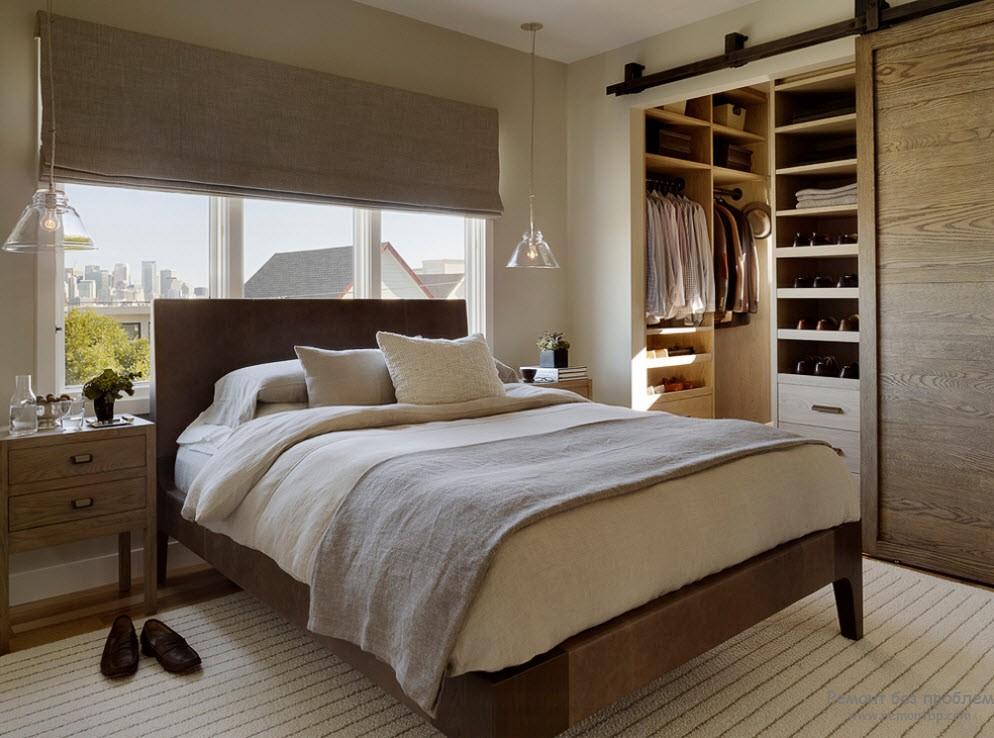Интерьер небольшоя спальни с небольшой гардеробной