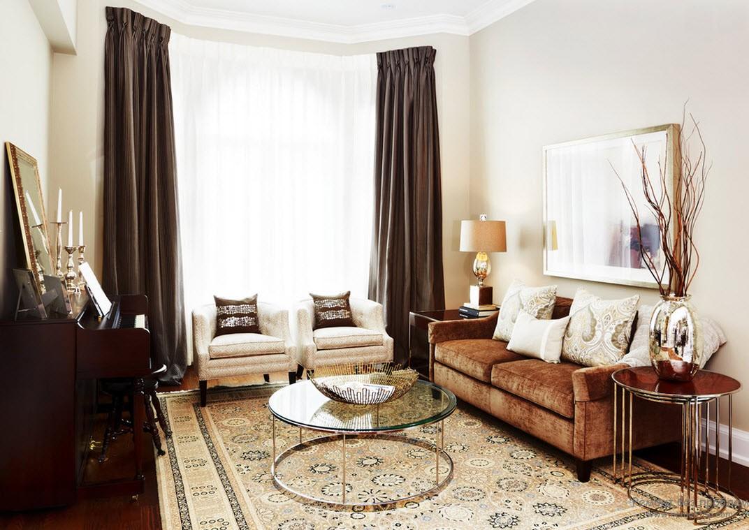 Спокойная гостиная в коричневом цвете