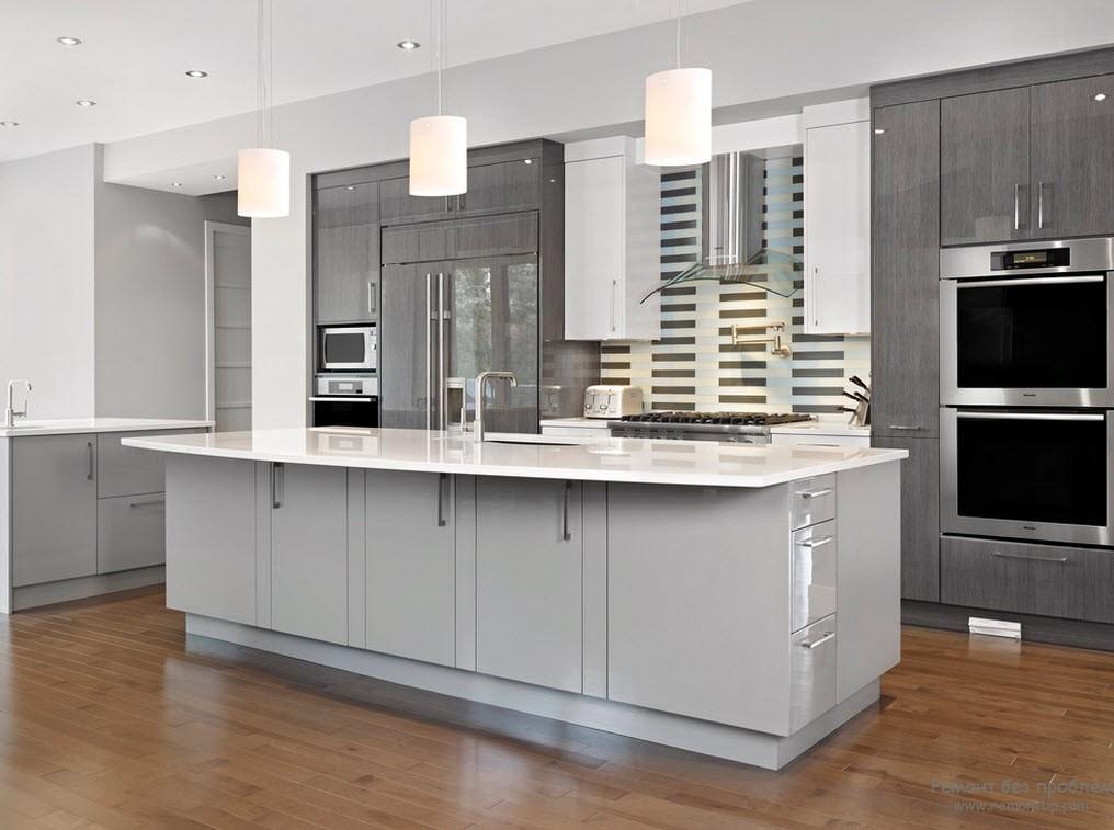 Сочетание серого и белого на кухне