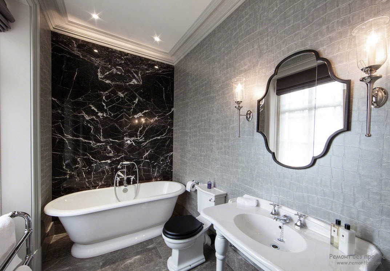 Необычный узор в темной ванной комнате
